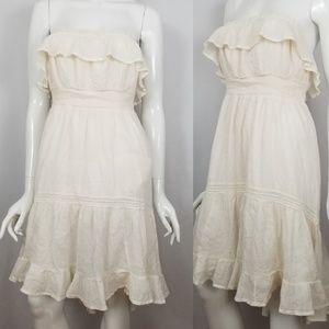 Anthropologie HD In Paris Strapless Ruffled Dress